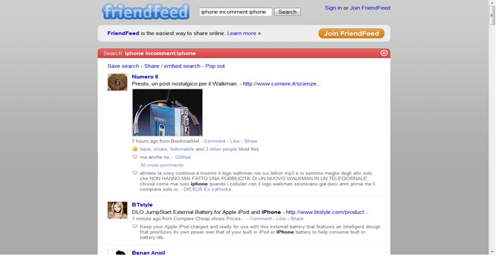 friendfeed seach query