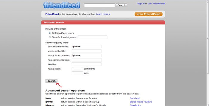 friendfeed search