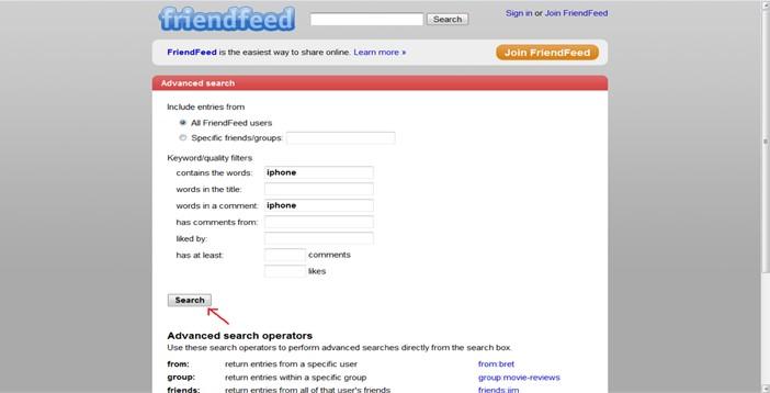friendfeed search