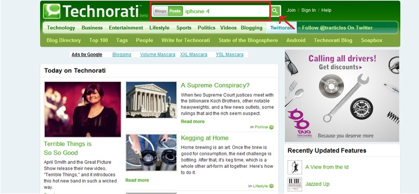 technorati search